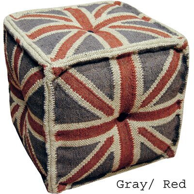 Gray & Red Handmade Kilim Puff