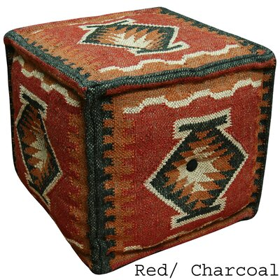 Red & Charcoal Handmade Kilim Puff