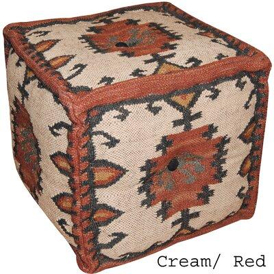 Cream & Red Handmade Kilim Puff Ottoman