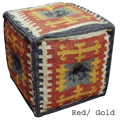 Red & Gold Handmade Kilim Puff Ottoman