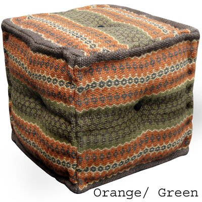 Orange & Green Handmade Kilim Puff Ottoman