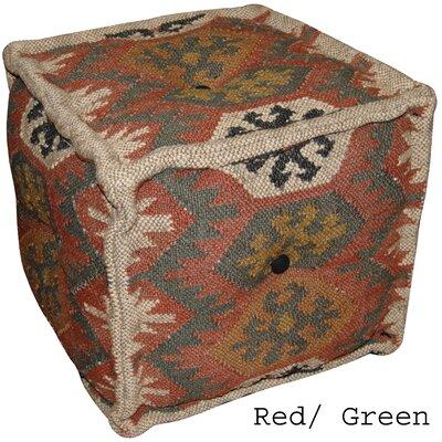 Red & Green Handmade Kilim Puff Ottoman