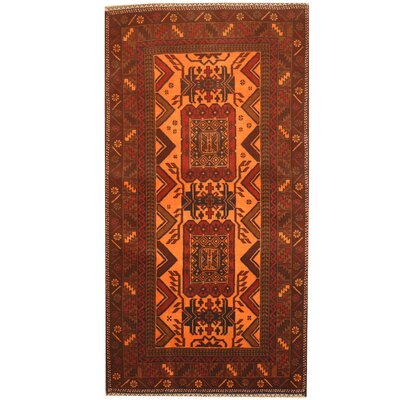 Balouchi Hand-Knotted Orange/Brown Area Rug