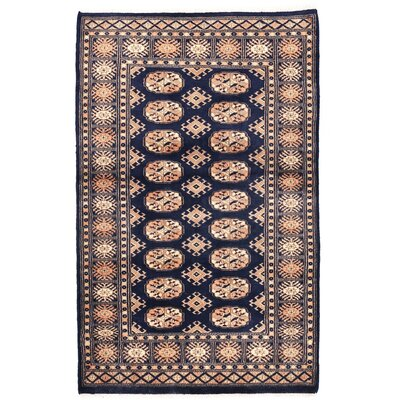Tribal Bokhara Hand-Knotted Navy Area Rug