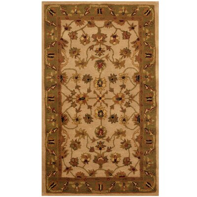 Ivory/ Green Area Rug Rug Size: 33 x 53