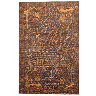 Balouchi Hand-Knotted Navy/Olive Area Rug