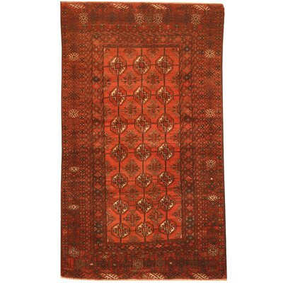Balouchi Hand-Knotted Salmon/Navy Area Rug
