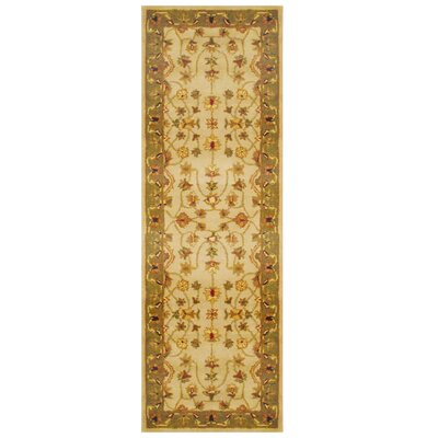 Ivory/ Green Area Rug Rug Size: Runner 26 x 8
