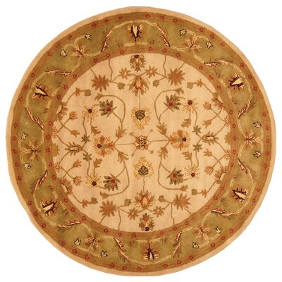 Ivory/ Green Area Rug Rug Size: Round 6