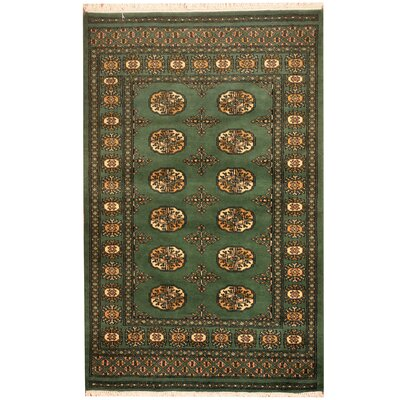 Hand-Knotted Green/Ivory Area Rug