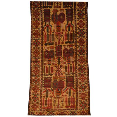 Afghan Tribal Balouchi Hand-Knotted Beige/Red Area Rug