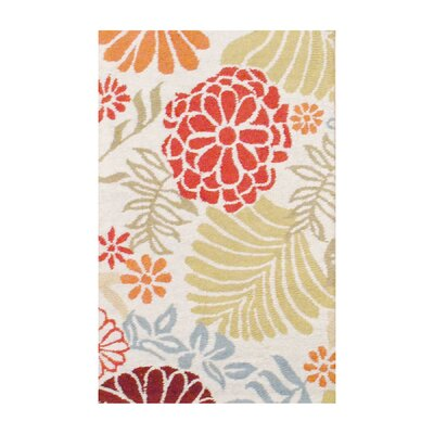 Hand Tufted Wool Ivory/Olive Area Rug Rug Size: 26 x 4
