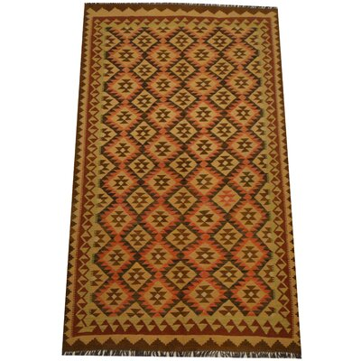 Kilim Hand-Woven Light Green Area Rug