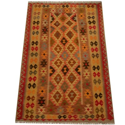 Kilim Hand-Woven Red/Beige Area Rug