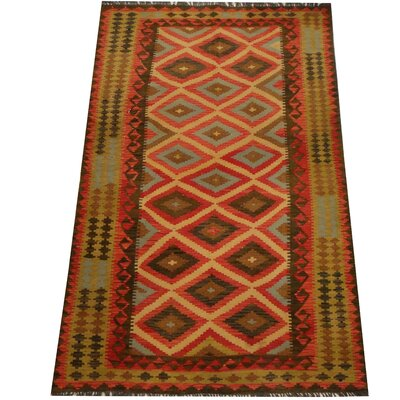 Kilim Hand-Woven Red/Light Green Area Rug
