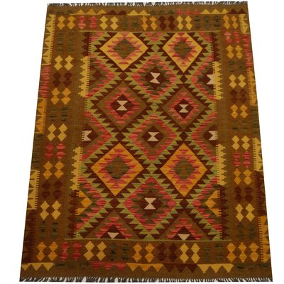 Kilim Hand-Woven Light Green/Olive Area Rug