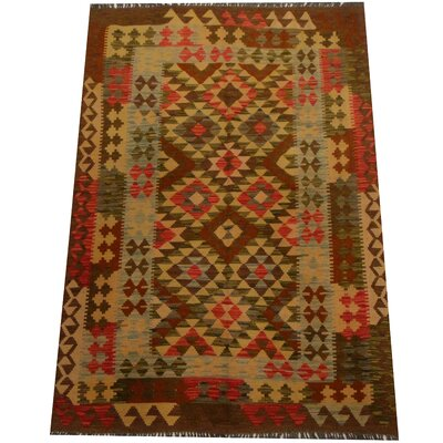 Kilim Hand-Woven Green/Brown Area Rug
