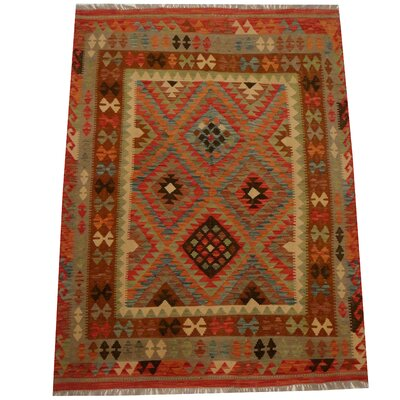 Kilim Hand-Woven Gray/Red Area Rug