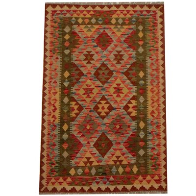 Kilim Hand-Woven Light Blue/Red Area Rug