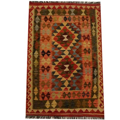 Kilim Hand-Woven Red/Olive Area Rug