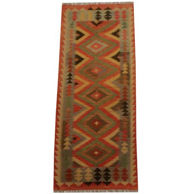 Kilim Hand-Woven Red/Gray Area Rug