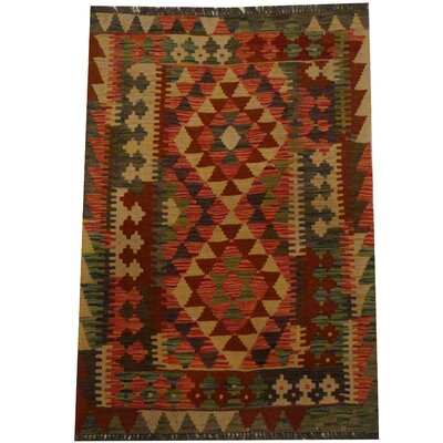 Kilim Hand-Woven Red/Green Area Rug