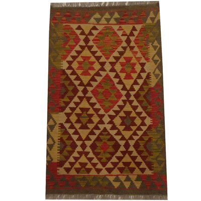 Kilim Hand-Woven Beige/Red Area Rug