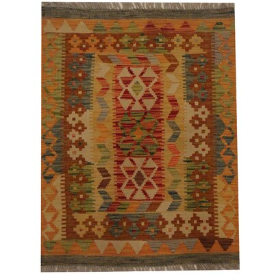 Kilim Hand-Woven Red/Brown Area Rug