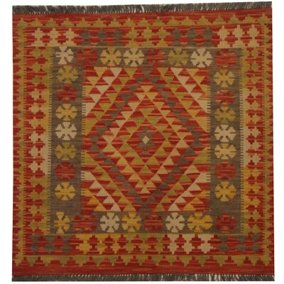 Kilim Tribal Hand-Woven Wool Rust / Light Green Area Rug