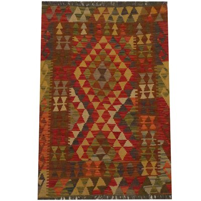 Kilim Tribal Hand-Woven Wool Red / Olive Area Rug