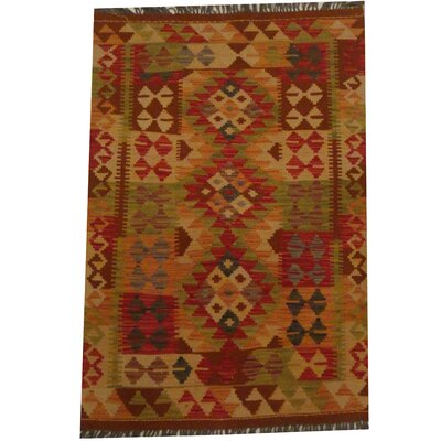 Kilim Tribal Hand-Woven Wool Green / Beige Area Rug
