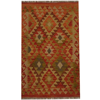 Kilim Tribal Hand-Woven Wool Rust / Beige Area Rug