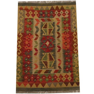 Kilim Tribal Hand-Woven Wool Gray / Red Area Rug