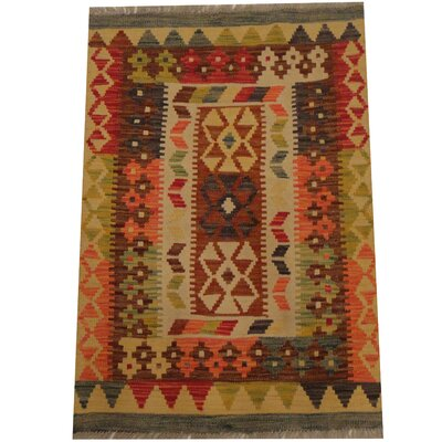 Kilim Tribal Hand-Woven Wool Rust / Gold Area Rug