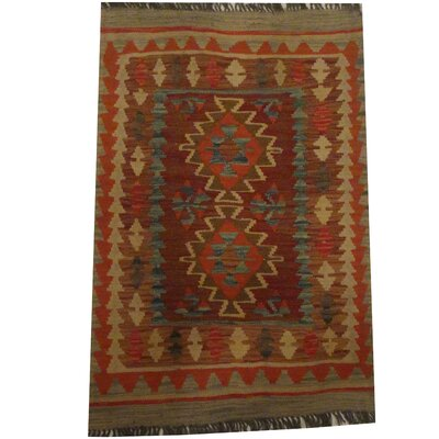 Kilim Tribal Hand-Woven Wool Rust / Gray Area Rug