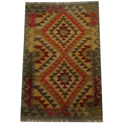 Kilim Tribal Hand-Woven Wool Olive / Blue Area Rug