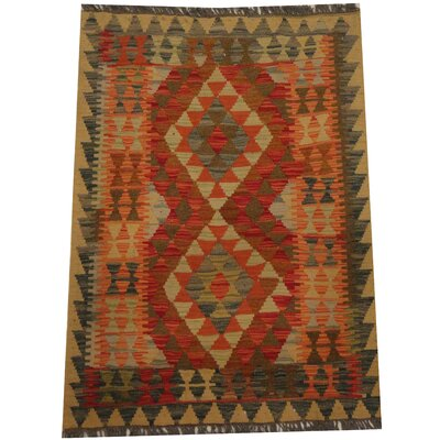 Kilim Tribal Hand-Woven Wool Red / Gray Area Rug