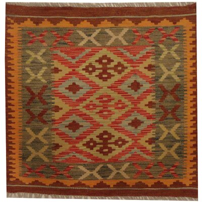 Kilim Tribal Hand-Woven Wool Red / Orange Area Rug