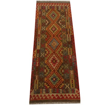 Kilim Tribal Hand-Woven Wool Light Green / Red Area Rug