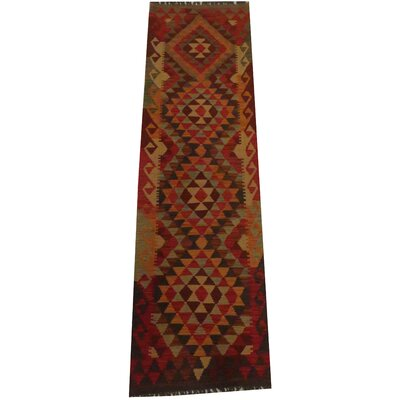 Kilim Tribal Hand-Woven Wool Orange / Red Area Rug