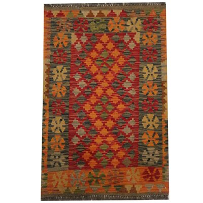 Kilim Tribal Hand-Woven Wool Red / Orange Area Rug