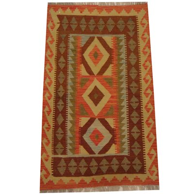 Kilim Tribal Hand-Woven Wool Salmon / Gold Area Rug