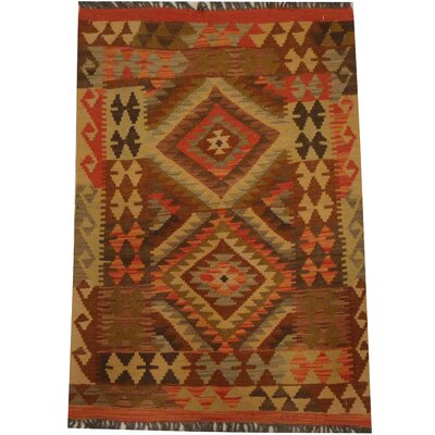 Kilim Tribal Hand-Woven Wool Brown / Beige Area Rug