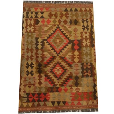 Kilim Tribal Hand-Woven Wool Brown / Olive Area Rug