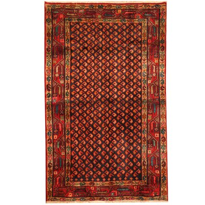 Hamadan Hand-Knotted Navy/Red Area Rug