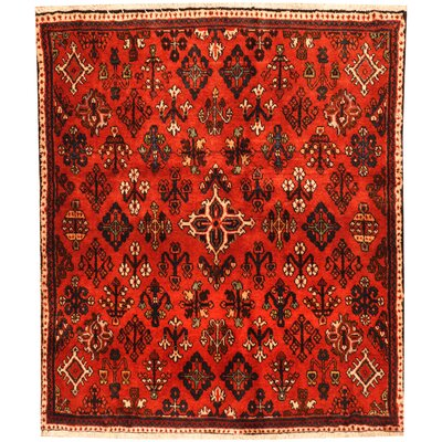 Josheghan Hand-Knotted Red/Ivory Area Rug