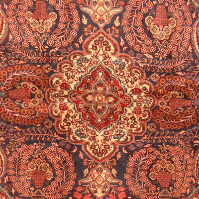 Kashan Hand-Knotted Red/Navy Area Rug