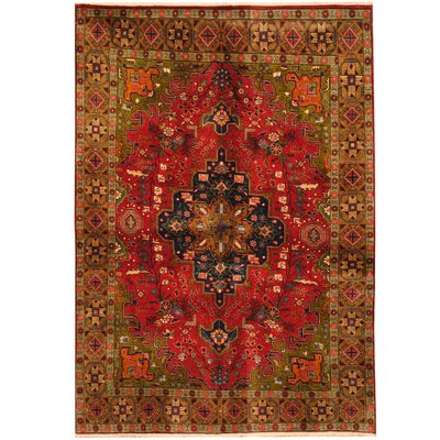 Tabriz Hand-Knotted Green/Brown Area Rug