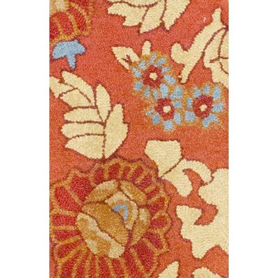 Rust/Cream Area Rug Rug Size: 19 x 26