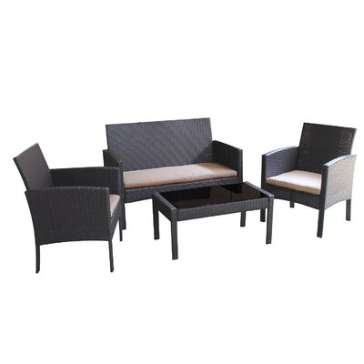 Sophia 4 Piece Deep Seating Group with Cushions Fabric: Beige